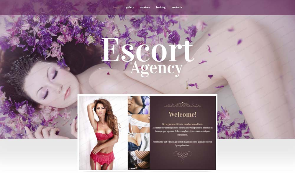 Escort Agency Website Layout
