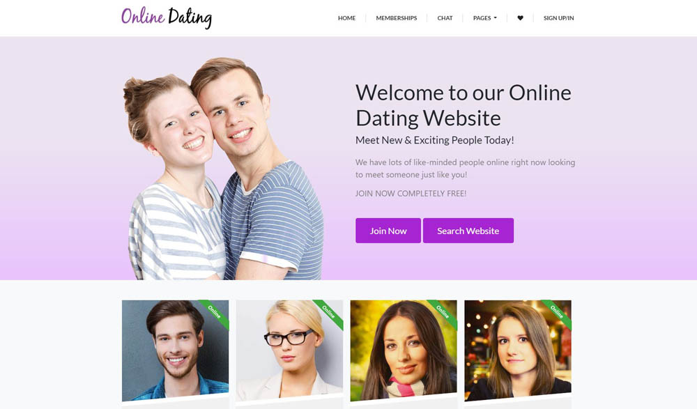 Online Dating Layout