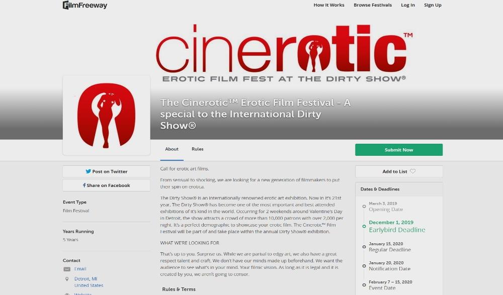 The Cinerotic Erotic Film Festival Layout